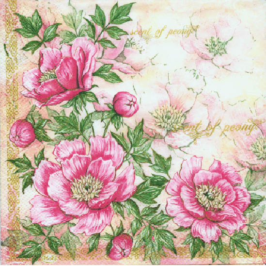 Stil Ubrousky 33 x 33 dekorativní - Ružové kytky