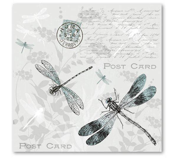 Stil Ubrousky 33 x 33 dekorativní - Vážky černobílé
