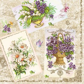Stil Ubrousky 33 x 33 dekorativní - Jarní květiny