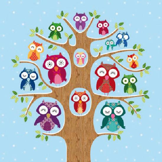 Stil Ubrousky 33 x 33 dekorativní - Sovy na stromě