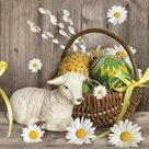 Stil Ubrousky 33 x 33 Velikonoce - Ovečka s velikonoční ošatkou