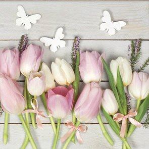 Stil Ubrousky 33 x 33 Velikonoce - Tulipány s motýlky
