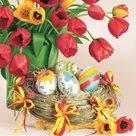 Stil Ubrousky 33 x 33 Velikonoce - Červené tulipány