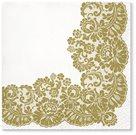 Stil Ubrousky 33 x 33 dekorativní - Ornament - zlatá