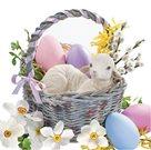 Stil Ubrousky 33 x 33 Velikonoce - ovečka v košíčku