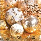 Stil Ubrousky 33 x 33 Vánoce - zlaté s ozdobami