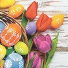 Stil Ubrousky 33 x 33 Velikonoce - Kraslice s tulipány