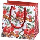 Vánoční dárková taška 16,5 x 16,5 x 9 cm - Zimní jablko