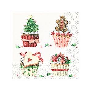 Vánoční ubrousky 25 x 25 cm, 20 ks - Cup Cakes
