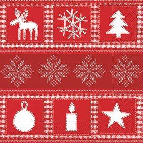 Vánoční ubrousky 33 x 33 cm, 20 ks - Severský motiv