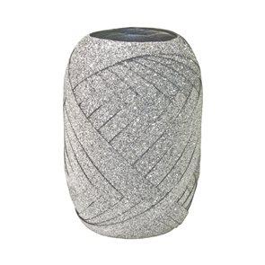 Dárková stuha 10 m × 5 mm - stříbrná glitter