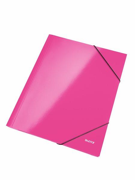 Leitz Spisové desky WOW s gumou - růžové