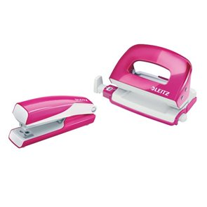 Leitz WOW Set mini sešívačka a děrovačka - metalická  růžová
