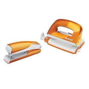 Leitz WOW Set mini sešívačka a děrovačka - metalická oranžová