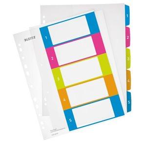Leitz WOW Celoplastový rozdružovač A4 Maxi čísla 1-5 - mix barev