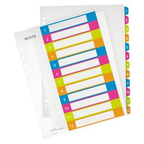 Leitz WOW Celoplastový rozdružovač A4 Maxi čísla 1-12 - mix barev