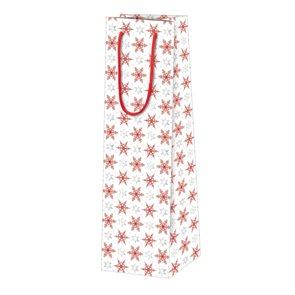Vánoční dárková taška 10,5 x 36 x 10 cm - Červené krystalky