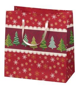 Vánoční dárková taška 16,5 x 16,5 x 9 cm - Hvezda a stromy