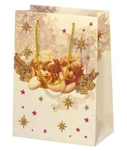Vánoční dárková taška 16 x 22 x 8 cm - Romantic angels