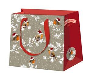 Vánoční dárková taška 16,5 x 16,5 x 9 cm - Ptáček Robin