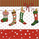 Vánoční ubrousky 33 x 33 cm, 20 ks - Vánoční punčocha