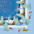 Vánoční ubrousky 33 x 33 cm, 20 ks - Zimní vesnice