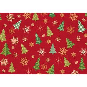 Balící papír 2m x 70cm - Hvězdy a stromy