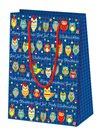 Vánoční dárková taška 16 x 22 x 8 cm - Sovičky