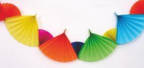 Girlanda papírová vějíř 200x21 cm - mix barev