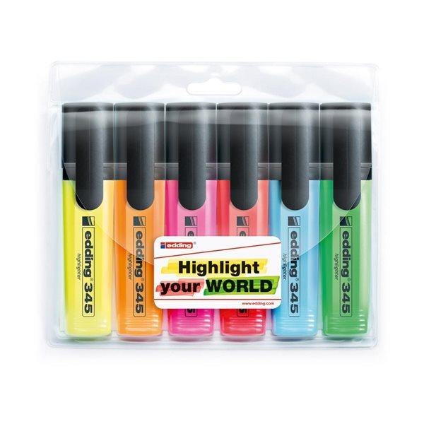 Edding 345 Zvýrazňovač - sada 6 barev