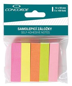 CONCORDE Samolepicí záložky papírové, neon 12 × 50 mm