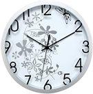 Nástěnné analogové hodiny 30 cm květinový motiv - bílostříbrná