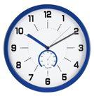 Nástěnné analogové hodiny s teploměrem, 30 cm - modrá