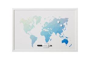 "Victoria Magnetická tabule bílá s rámem, 60 × 40 cm, ""World map"""