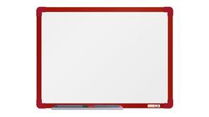 boardOK Bílá magnetická tabule s emailovým povrchem 60 × 45 cm, červený rám