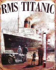 Plechový teploměr Titanic
