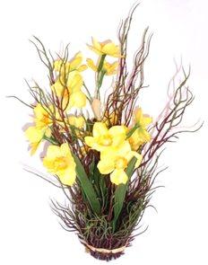 Umělá kytice Narcis v proutí