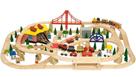 Dřevěná dopravní dvouúrovňová vláčkodráha - 130 dílů