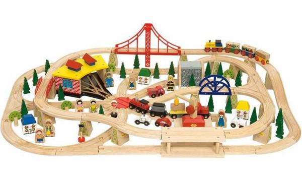 Dřevěná dopravní dvouúrovňová vláčkodráha - 130 dílů, Doprava zdarma