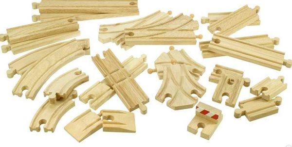 Dřevěné koleje vláčkodráhy - 25 dílů