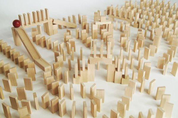 Dřevěné domino v tubě - natural - 800 ks