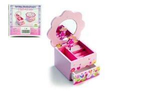 Skříňka šperkovnice Princess dřevěná hrající květina zásuvka 14,5x8x14,5cm