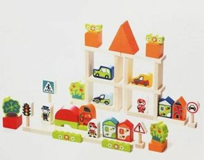 Doprava ve městě - dřevěná stavebnice 55 dílů