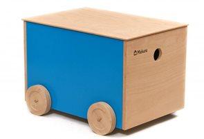 Dřevěný box na kolečkách - červený
