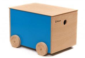 Dřevěný box na kolečkách - žlutý