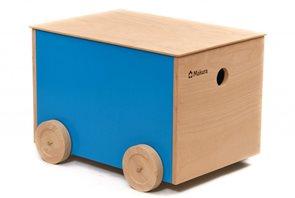 Dřevěný box na kolečkách - modrý