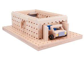 Dřevěná stavebnice Buko  - Garáž s autíčkem 98 dílů