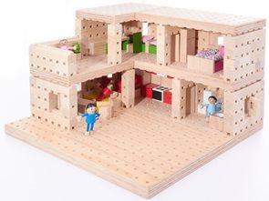 Dřevěná stavebnice Buko - Patrový dům, 302 dílů