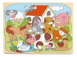 """Puzzle na desce """"Domácí veselá zvířátka"""""""