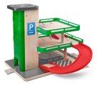 Garáž s výtahem a SIKU autíčky - dřevo/plast